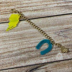 Betsey Johnson Gold Links/Plastic Charms Bracelet